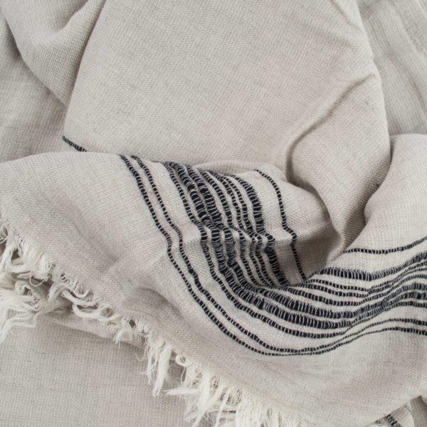 Hamamtuch, Stripy, Material Leinen Baumwolle, schwarz