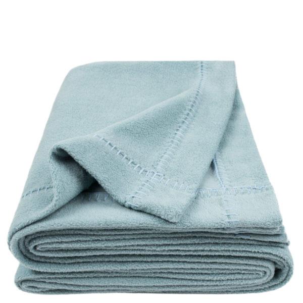 zoeppritz Soft-Greeny weiche Decke, Farbe blau, Material GOTS Bio-Baumwolle in Groesse 140x190