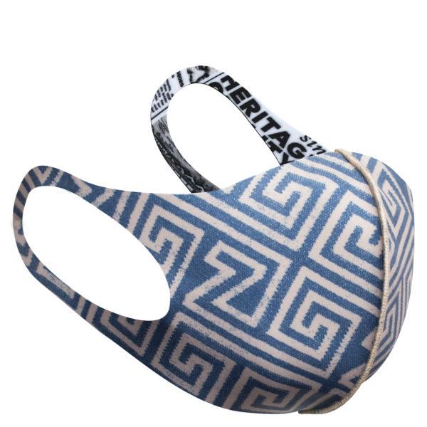 Stoffmaske wiederverwendbar Responsibility, Material Polyester Elasthan, beige-blau