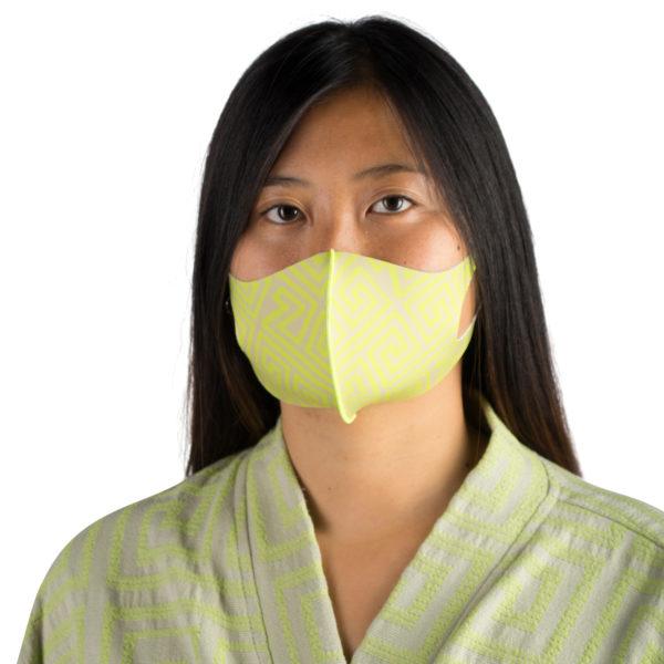 Stoffmaske wiederverwendbar Responsibility, Material Polyester Elasthan, neongrün-beige