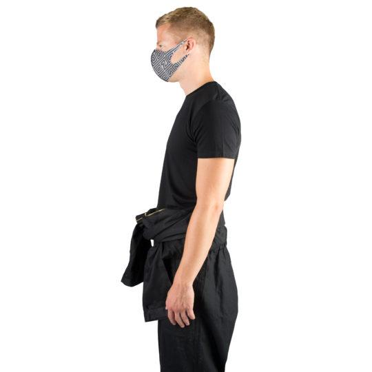 Stoffmaske wiederverwendbar Responsibility, Material Polyester Elasthan, schwarz