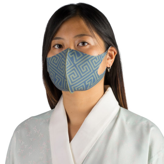 Stoffmaske wiederverwendbar Responsibility, Material Polyester Elasthan, grün-blau