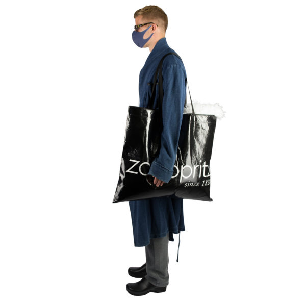 Stoffmaske wiederverwendbar Responsibility, Material Polyester Elasthan, blau-dunkelgrün