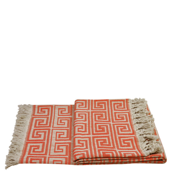 Flauschige Decke 150x200 orange aus Baumwolle, zoeppritz Sunny Leg