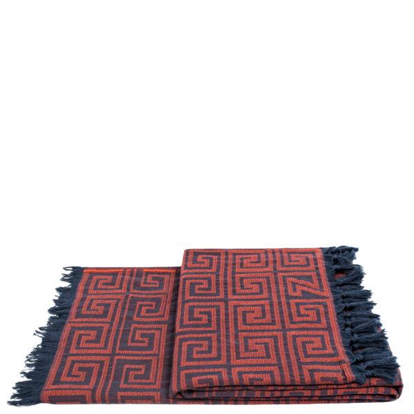 Flauschige Decke 150x200 rotorange aus Baumwolle, zoeppritz Sunny Leg