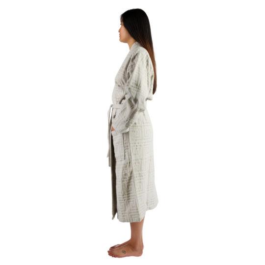 Bathrobe for women and men in S-M, white, cotton, zoeppritz Sunny Leg
