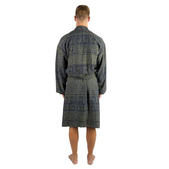 Bademantel fuer Herren und Damen in L-XL, dunkelgruen-blau aus Baumwolle, zoeppritz Sunny Leg