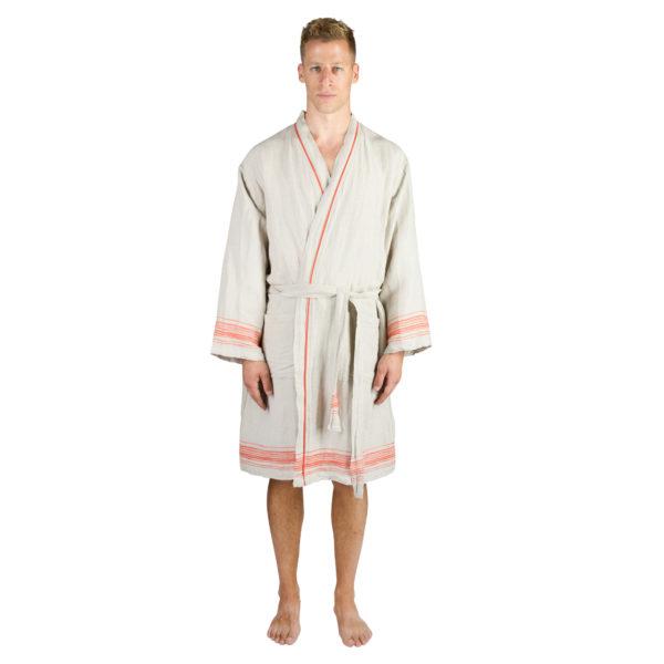 Mantel fuer Herren und Damen in L-XL, orange aus Leinen und Baumwolle, zoeppritz Stripy