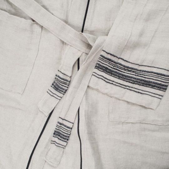 Mantel fuer Damen und Herren in S-M, schwarz aus Leinen und Baumwolle, zoeppritz Stripy