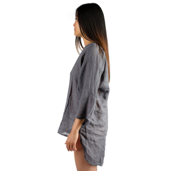 Tshirt for women and men in S-M, charcoal, linen, zoeppritz Shirty
