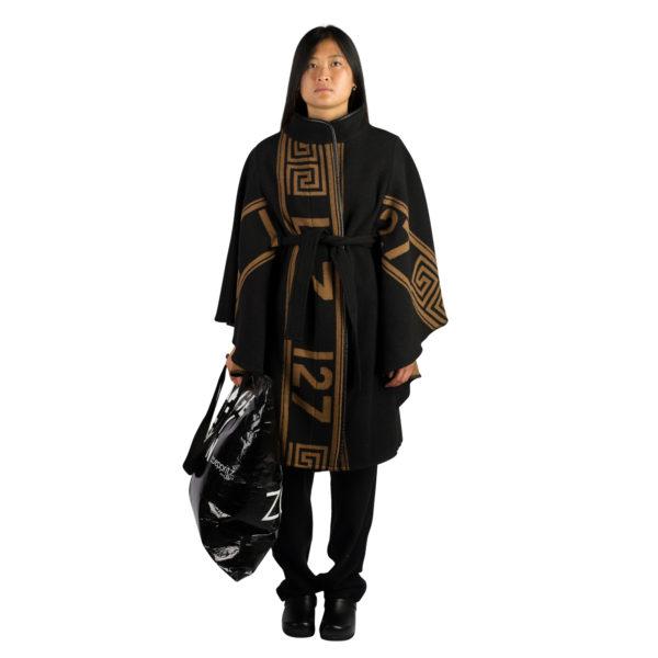 Mantel fuer Damen in schwarz-braun, Kaschmir und Merinowolle in m, zoeppritz The Heroine