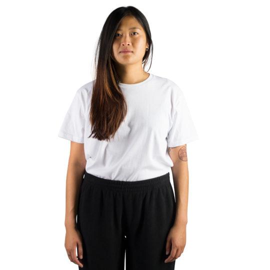 T-Shirt fuer Damen und Herren in weiss, Bio-Baumwolle in M, zoeppritz Homage to H