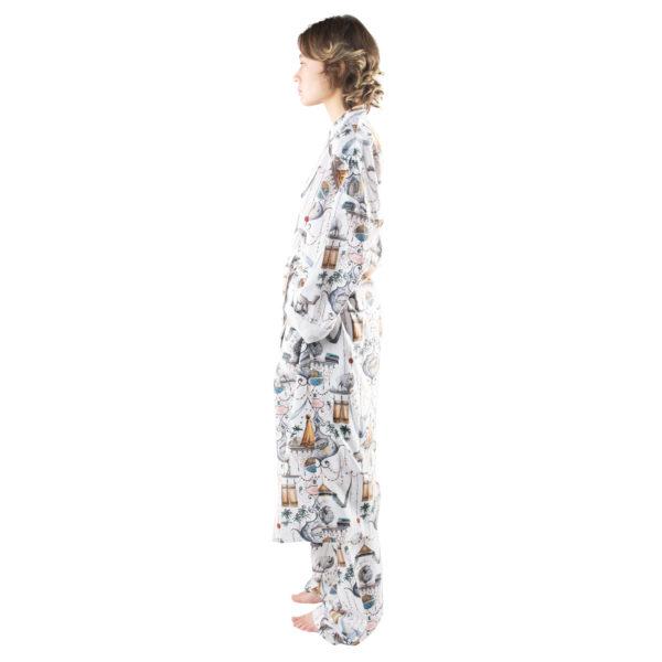 Bathrobe for men and women in white with pattern, cotton in l-xl, zoeppritz Centuries Bathrobe