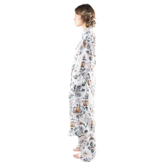 Bathrobe for women and men in white with pattern, cotton in s-m, zoeppritz Centuries Bathrobe