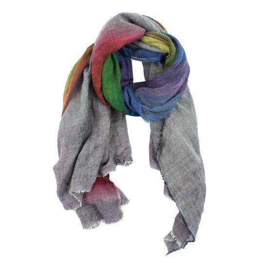 Schal aus Wolle und Kaschmir fuer Damen und Herren, regenbogenfarben in 100x200cm, zoeppritz Cashbow