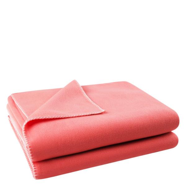 Flauschige Decke fuer Sofa und Couch, flamingofarben in 110x150cm, zoeppritz Soft-Fleece