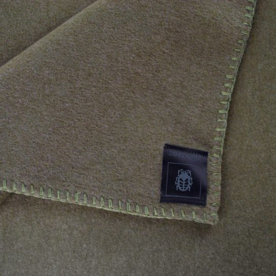 Blanket 160x200cm in military green, zoeppritz Soft-Fleece