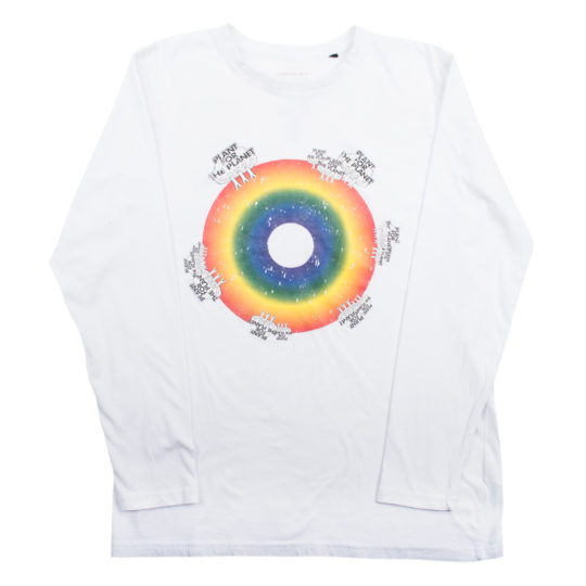 Shirt langarm fuer Damen und Herren in weiss, Bio-Baumwolle in S, zoeppritz Rainbow Plant