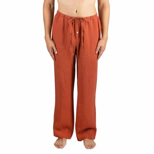 Sommerhose fuer Herren und Damen in L-XL, orange aus Leinen, zoeppritz Stay