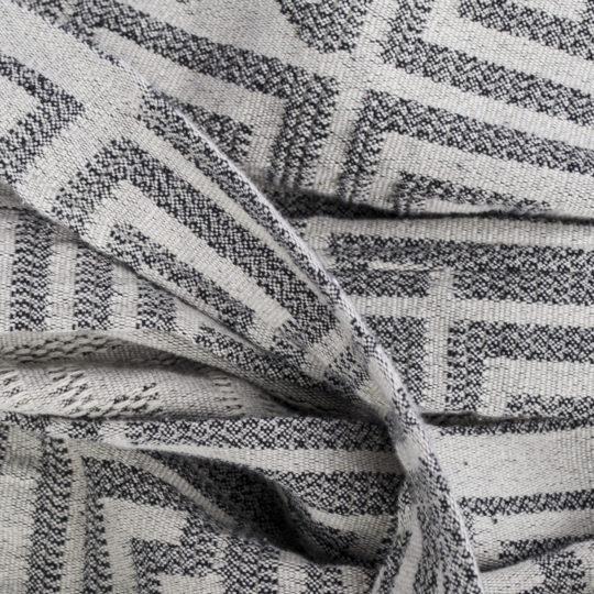 Bademantel fuer Damen und Herren in S-M, schwarz-beige aus Baumwolle, zoeppritz Sunny Leg