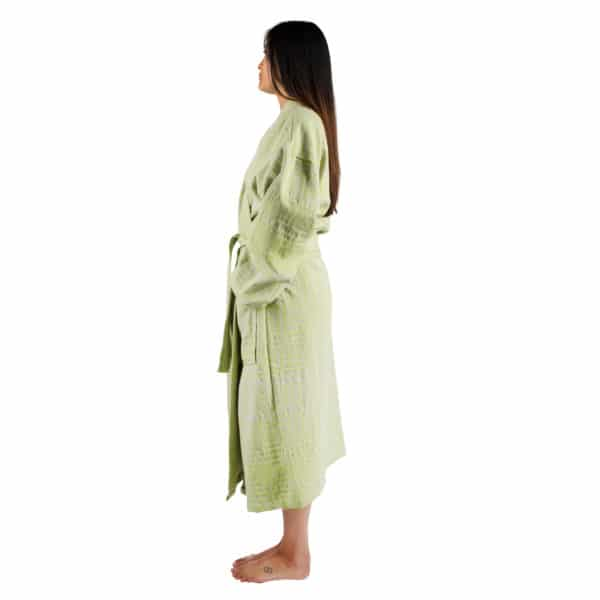 Bathrobe for women and men in s-m, acid green, cotton, zoeppritz Sunny Leg