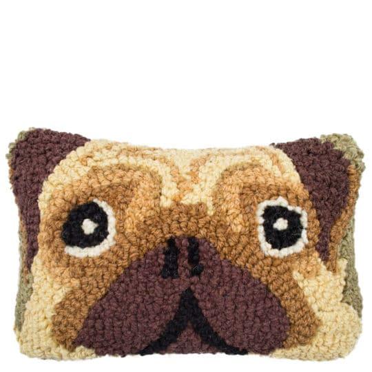 Kissen mit Hundemotiv 20x30cm, Mops in beige aus Wolle und Baumwolle, zoeppritz Pug