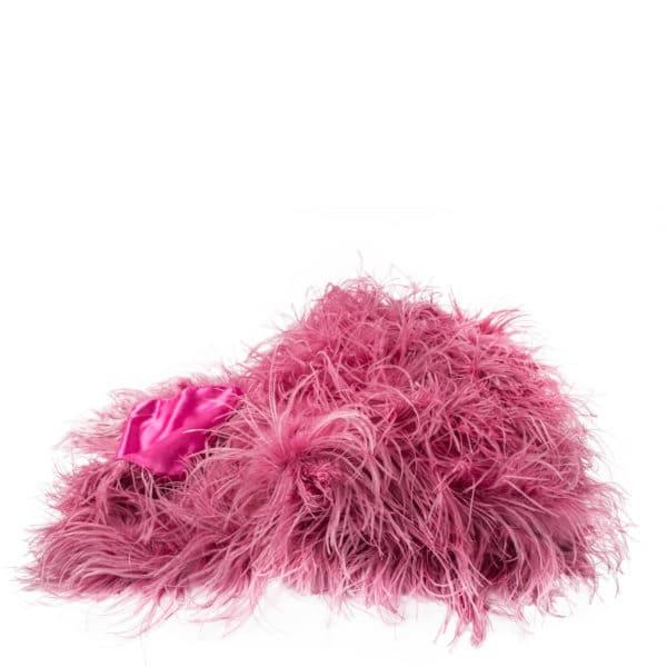 Flauschige Decke fuer Sofa und Couch mit Straussenfedern in 120x180cm, pink, zoeppritz Tweet