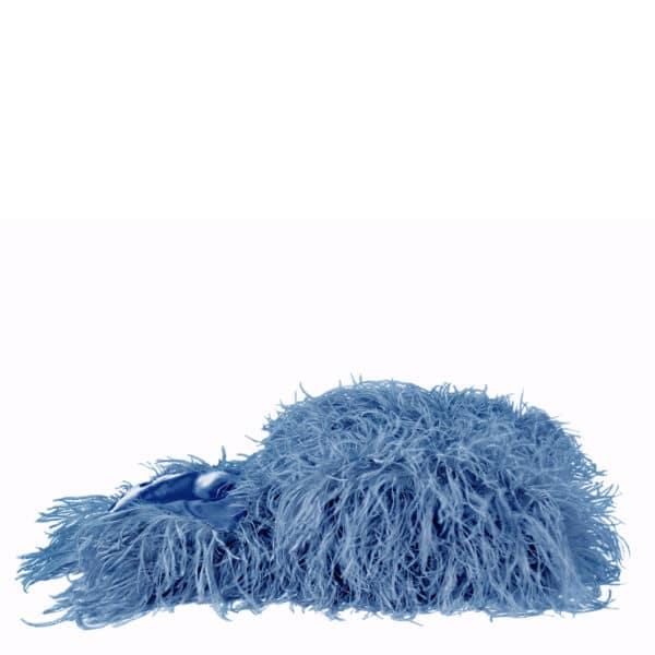 Flauschige Decke fuer Sofa und Couch mit Straussenfedern in 120x180cm, blau, zoeppritz Tweet