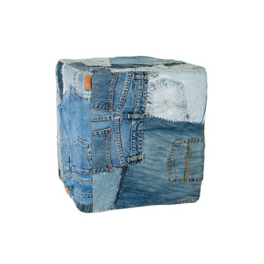 Sitzwuerfel aus recyceltem Jeansstoff in 40x40x44cm, blau aus Jeans und Baumwolle, zoeppritz pants