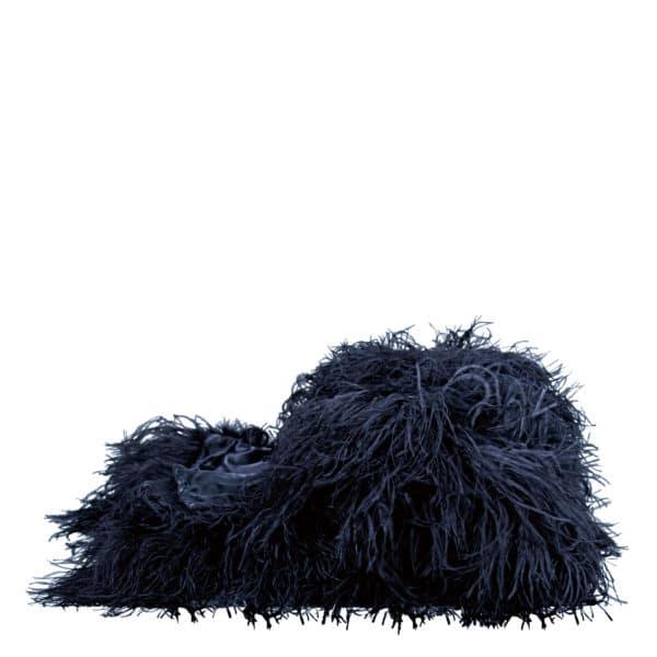 Flauschige Decke fuer Sofa und Couch mit Straussenfedern in 120x180cm, dunkelblau, zoeppritz Tweet