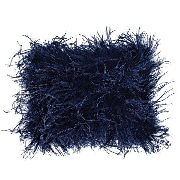 Kissenbezug 30x40cm in blau, flauschig mit Straussenfedern, zoeppritz Tweet
