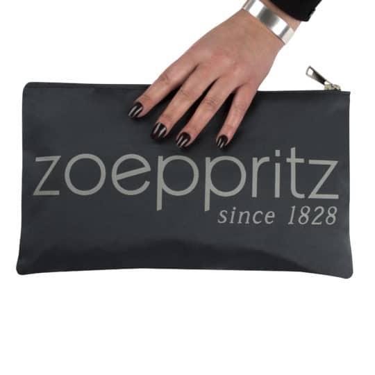 Clutch for women with Zoeppritz label branding in 33x19cm, grey, zoeppritz label clutch